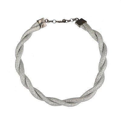 Colar Armazem RR Bijoux chocker entrelaçada com brilho prata