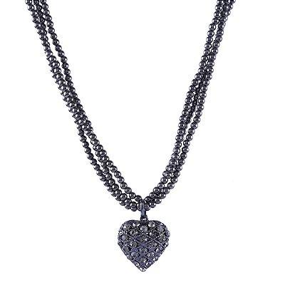 Colar Armazem RR Bijoux curto coração cristais cravejados grafite