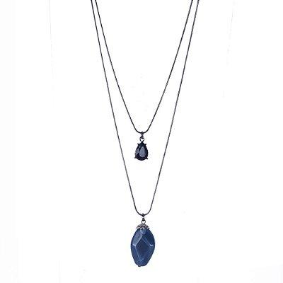 Colar Armazem RR Bijoux longo duplo pedra azul
