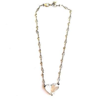 Colar Armazem RR Bijoux cristal swarovski coração prata