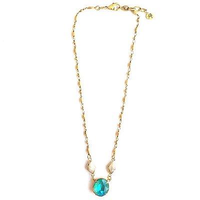 Colar Armazem RR Bijoux cristal swarovski curto azul