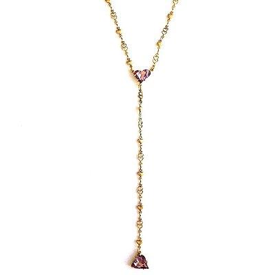 Colar Armazem RR Bijoux cristal swarovski gravatinha coração rosa