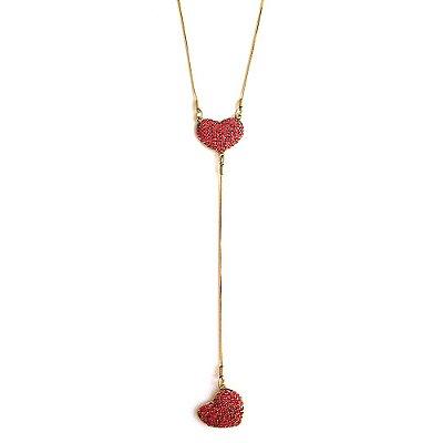 Colar Armazem RR Bijoux cristal swarovski gravatinha coração cravejado vermelho