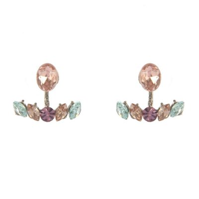 Brinco Armazem RR Bijoux ear jacket cristal rose