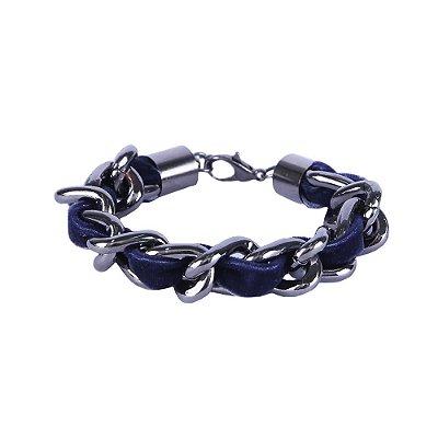 Pulseira Armazem RR Bijoux corrente com tecido azul marinho