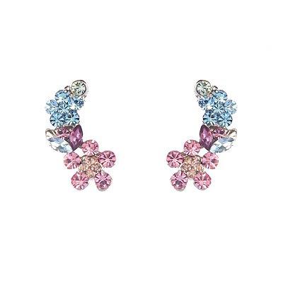 Brinco Armazem RR Bijoux ear cuff flor rosa e azul
