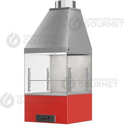 Churrasqueira Gourmet Cimento Queimado com 2 Vidros + Braseiro Vermelho + Coifa Inox