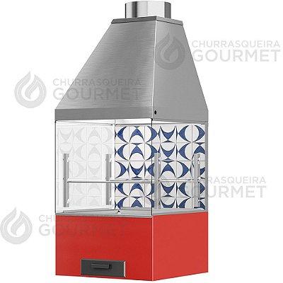 Churrasqueira Gourmet Ladrilho Azul com 2 Vidros + Braseiro Vermelho + Coifa Inox