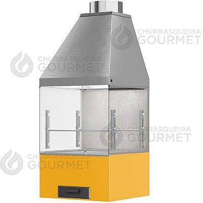 Churrasqueira Gourmet Cimento Queimado com 2 Vidros + Braseiro Amarelo + Coifa Inox