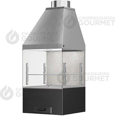 Churrasqueira Gourmet Cimento Queimado com 2 Vidros + Braseiro Preto + Coifa Inox