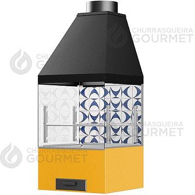 Churrasqueira Gourmet Ladrilho Azul com 2 Vidros + Braseiro Amarelo + Coifa Preta