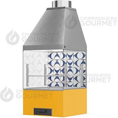 Churrasqueira Gourmet Ladrilho Azul com 2 Vidros + Braseiro Amarelo + Coifa Inox