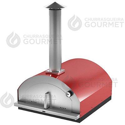 Forno de Pizza a Lenha Vermelho, modelo Gourmet
