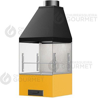 Churrasqueira Gourmet Cimento Queimado com 2 Vidros + Braseiro Amarelo + Coifa Preta