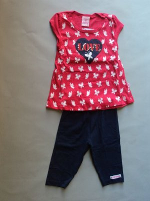 Conjunto Infantil com Blusa Carmin e Short Abrange