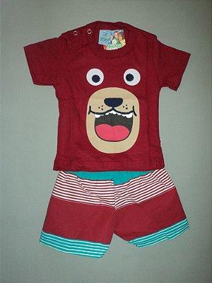 Conjunto Infantil Masculino Camiseta Dog e Bermuda Abrange