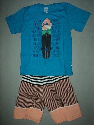 Conjunto Camiseta e Bermuda Pêssego Abrange