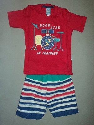Conjunto Camiseta e Bermuda Listrada Abrange