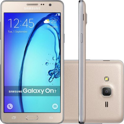 "Smartphone Samsung Galaxy On 7 Dual Chip Android 5.1 Tela 5.5"" 8GB 4G Câmera 13MP – Dourado"