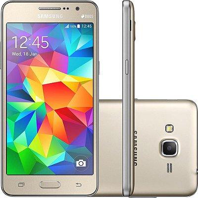 """Smartphone Samsung Galaxy Gran Prime Duos Dual Chip Android Tela 5"""" Memória Interna 8GB 3G Câmera 8MP – Dourado"""