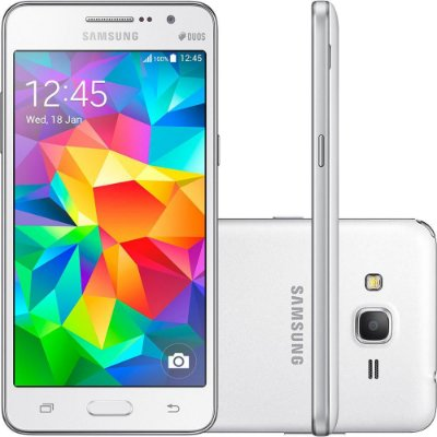 "Smartphone Samsung Galaxy Gran Prime Duos Dual Chip Android Tela 5"" Memória Interna 8GB 3G Câmera 8MP - Branco"