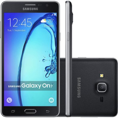"Smartphone Samsung Galaxy On 7 Dual Chip Android 5.1 Tela 5.5"" 8GB 4G Câmera 13MP – Preto"