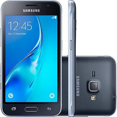 """Smartphone Samsung Galaxy J1 2016 Duos Dual Chip Android 5.1 Tela 4.5"""" Memória 8GB Wi-Fi 3G Câmera 5MP - Preto"""