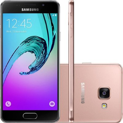"Smartphone Samsung Galaxy A3 2016 Dual Chip Android 6.0 Tela 4.7"" Quad-Core 1.5GHz 16GB 4G Câmera 13MP - Rosê"