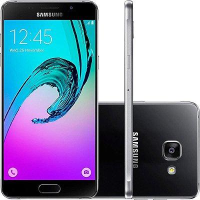 "Smartphone Samsung Galaxy A7 2016 Dual Chip Desbloqueado Android 5.1 Tela 5.5"" 16GB 4G 13MP - Preto"