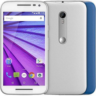 """Smartphone Motorola Moto G (3ª Geração) Colors Dual Chip Android 5.1 Tela 5"""" 16GB 4G Câmera 13MP - Branco + 1 Capa Azul"""