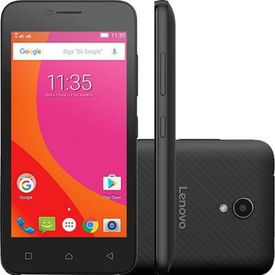 "Smartphone Lenovo Vibe B Dual Chip Android 6.0 Tela 4.5"" 8GB 4G Câmera 5MP - Preto"