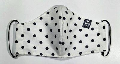 Máscara de Proteção - Poá Preto e Branco