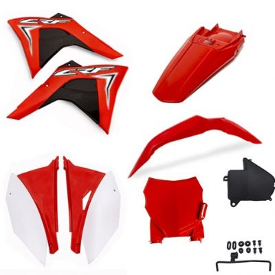Kit plastico AMX CRF230 08..19 c/ number plate, tampa bateria e adesivos