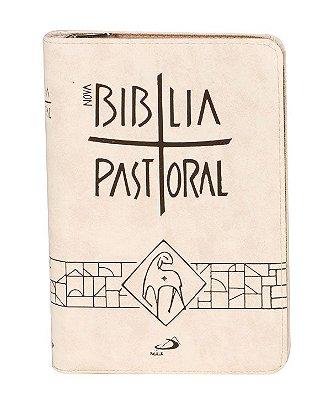 Nova Biblia Pastoral MÉDIA Ziper Creme