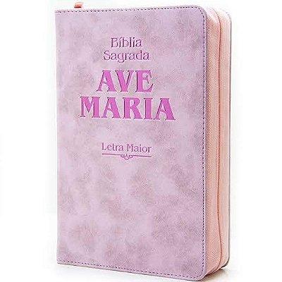 Biblia Ave Maria - Letra Maior - Rosa