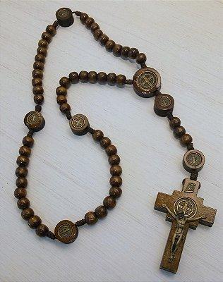 Terço de Madeira São Bento - Pai Nosso com Medalhas