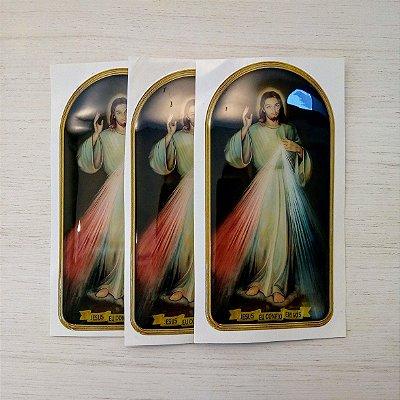 Adesivo Jesus Misericordioso - Alto Relevo em Resina - Pcte 3 unidades