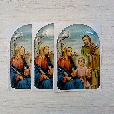 Adesivo Sagrada Familia - Alto Relevo em Resina - Pcte 3 unidades