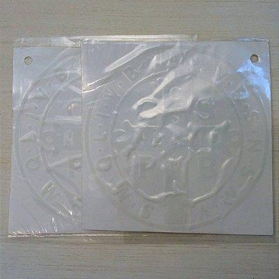 Adesivo Medalha de São Bento - 13cm - Branco - Pcte com 2 unidades