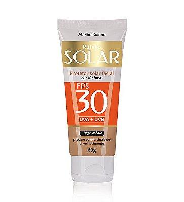 3064 RAINHA SOLAR – BLOQUEADOR FACIAL COR DE BASE FPS-30 60 g – Pele Morena Clara