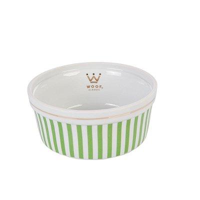 Comedouro P em Porcelana - Listrado Verde
