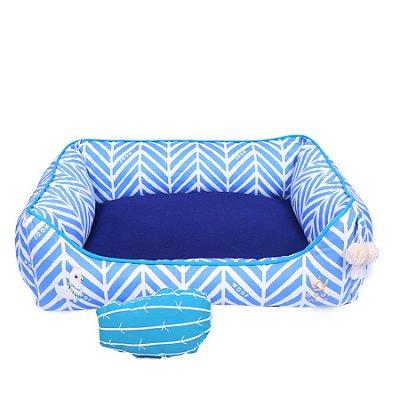 Cama Retangular Basica Chevron Azul