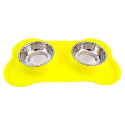 Tigela Dupla em Inox com Base de Silicone Amarelo P