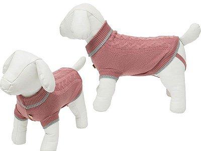 Suéter Tricô Trança Rose
