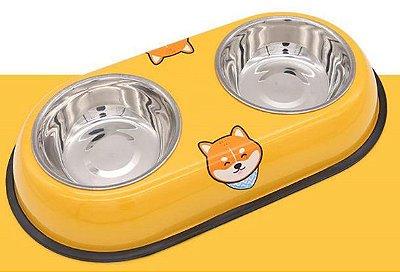 Comedouro Duplo Inox Amarelo Fox