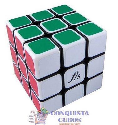 CUBO MÁGICO 3X3X3 FANGSHI SHUANGREN 54.6MM COR PRETA COM CAPAS BRANCAS