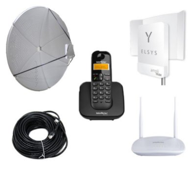 Kit Antena Celular e Internet Rural Wifi 60dbi