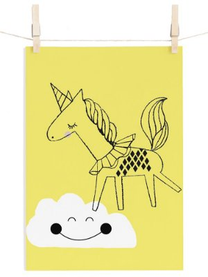 POSTER I BELIEVE IN UNICORNS - AMARELO