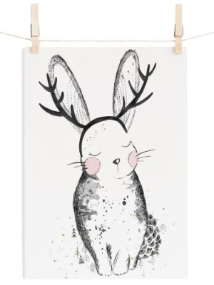 POSTER CUTE RABBIT BRANCO