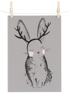 POSTER CUTE RABBIT CINZA